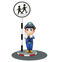 A policeman beside the street signage vector image