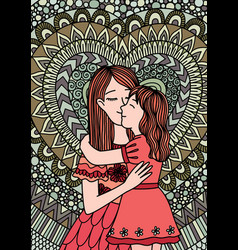 mother kissing daughter mosaic vector image
