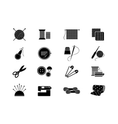 Needlework icons for sewing knitting needlework vector image vector image