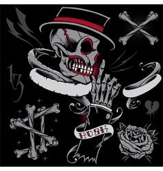 Skull skeleton hand bones and ribbons vector