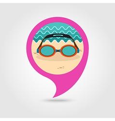 Swimming Goggles pin map icon Summer Vacation vector image vector image