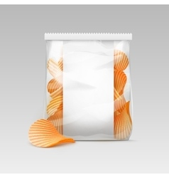 White Transparent Bag with Potato Ripple Chips vector image vector image