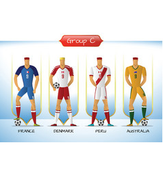 2018 soccer or football team uniform group c vector image vector image
