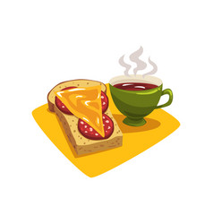 green cup with hot coffee or tea and sandwich with vector image