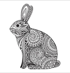 Hand drawn ornate rabbit with ethnic floral doodle vector image vector image