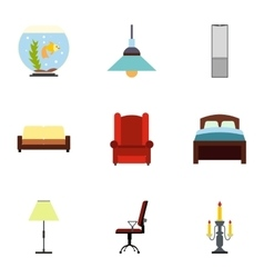 Home furnishings icons set flat style vector image vector image