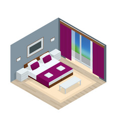 isometric bedroom interior interior of a modern vector image