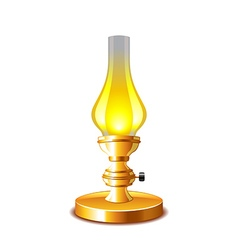 Old kerosene lamp isolated on white vector image vector image