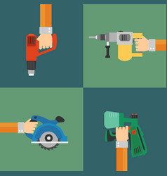 Power tools set modern design style flat vector