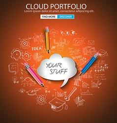 Cloud computing concept with doodle skeches vector image vector image