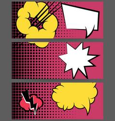 comic balloon horizontal pink web banner vector image