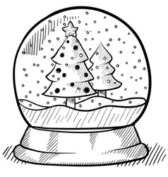 doodle snow globe vector image vector image