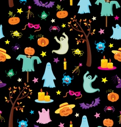 Happy Halloween seamless pattern with pumpkins gho vector image