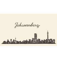 Johannesburg skyline engraved drawn sketch vector image
