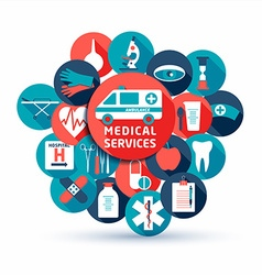 Medical and health set of flat medical icon vector