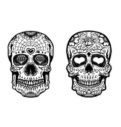 set of hand drawn sugar skulls on white background vector image