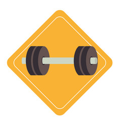 Weight lifting gym device icon vector