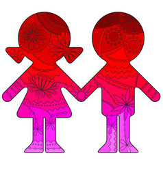 boy and girl with transition colors vector image vector image