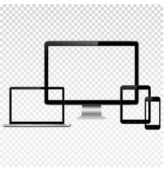 modern digital devices with transparent screen vector image vector image