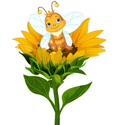 queen bee on sunflower vector image vector image