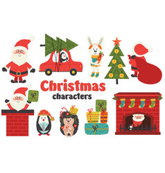set of isolated christmas characters part 1 vector image vector image