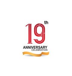 19 anniversary celebration logotype with red vector