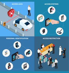 access identification isometric design concept vector image
