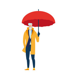 an elderly man in a yellow cloak with an umbrella vector image