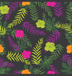 black and colourful tropical plants vector image