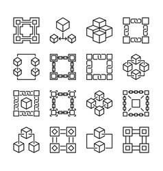 block chain icons collection of 16 vector image
