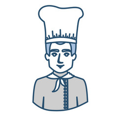 Blue silhouette with half body of male chef vector