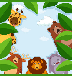border template with animals and leaves vector image