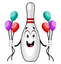 Bowling pin with balloons on white background vector
