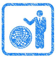 Businessman show iota coin framed stamp vector