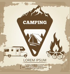 Camping label bonfire and travel bus vector