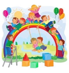 Carefree young children playing on the rainbow vector image