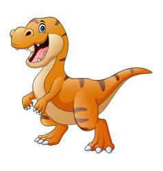 Cartoon a happy dinosaur tyrannosaurus vector