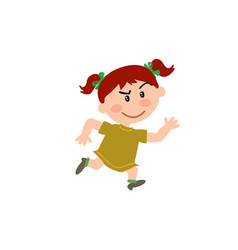 cartoon character girl running vector image