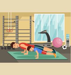 cartoon smiling dad and son push up in gym vector image