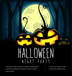 Cartoon spooky halloween pumpkin banner template vector