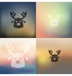 christmas deer icon on blurred background vector image
