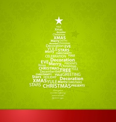 Christmas tree created of Christmas related words vector