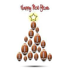 christmas tree from football balls vector image