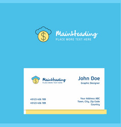 cloud dollar logo design with business card vector image