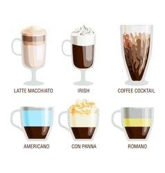 Coffee cups different cafe drinks vector