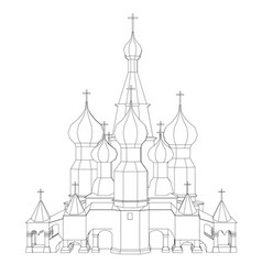 contour of the church with domes front view vector image