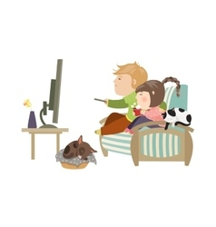 Couple watching television sitting on the couch vector
