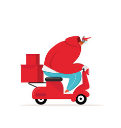 Courier in medical mask delivers food on scooter vector