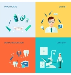 Dental Decorative Icon Set vector image