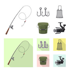 Design of fish and fishing icon collection vector